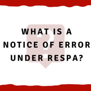 What is a notice of error under RESPA_