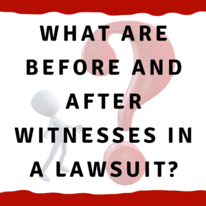 What are before and after witnesses in a lawsuit?